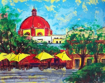 """Painting original art of Guanajuato Mexican plaza cafe yellow umbrellas 19"""" x 25"""" Mexican modern home decor  acrylic on paper"""