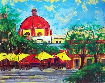 "SALE Painting original art of Guanajuato Mexican plaza cafe yellow umbrellas 19"" x 25"" Mexican modern home decor  acrylic on paper"