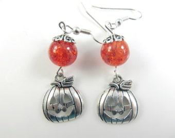 Orange and silver pumpkin halloween earrings
