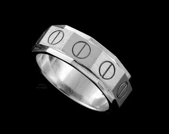 Screw Men's Wedding Ring Band, Unique Design Eternity Wedding Band, Matte Satin Finish Silver Men's Wedding Ring Band, 8.5mm Wide Men's Ring