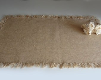Burlap table runner with hand knotted fringes - rustic wedding table runner farmhouse table decor bridal shower party decor