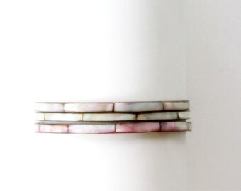 Three Brass and Mother of Pearl Bangle Bracelets Stacking Iridescent Bangle Trio