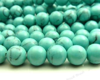 8mm Turquoise Blue Howlite Round Gemstone Beads - 16 Inch Strand - BG6
