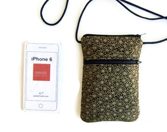 iphone Smartphone Cell Phone Purse Crossbody Hipster Gold Flowers on Black