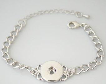 "1 Chain Bracelet - 7.25"" FITS 18MM Candy Snap Charm Jewelry Silver KB0214 Cj0089"