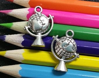 5 PCS - Globe School Teacher Geography Planet Silver Charm Pendant C0004