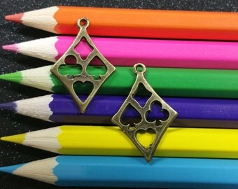 5 PCS - Diamond Heart Spade Club Cards Bronze Charm Pendant C0011