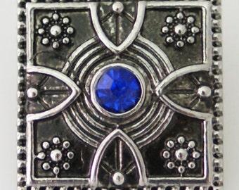 1 PC 18MM Blue Square Rhinestones Silver Snap Candy Charm KB8703 Cc0433