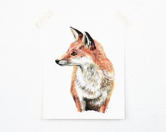 Fox 8x10 Art Print - Red Fox Woodland Giclée Print