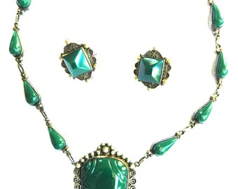 Carved  Malachite Aztec Mexican Necklace and Earrings Sterling Silver