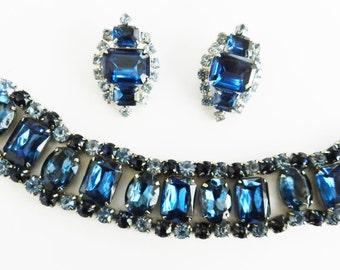 Vintage 50s Big Chunky Montana Blue Bracelet and Earrings