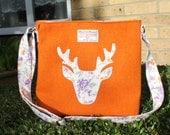 HARRIS TWEED bag crossbody bag Tweed purse orange with stag applique