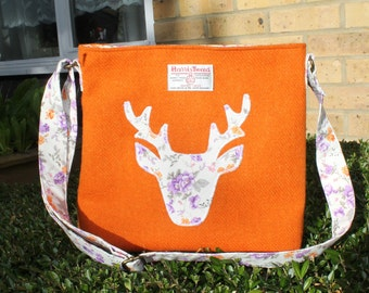 Harris Tweed bag, crossbody bag, Tweed purse, orange with stag applique