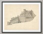 Kentucky Map, Kentucky Old Sheet Music Map USA, Art Print (1048)