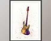 Electric Bass Guitar, Abstract Watercolor Music Instrument Art Print (2002)