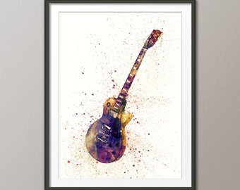Electric Guitar, Abstract Watercolor Music Instrument Art Print (1996)