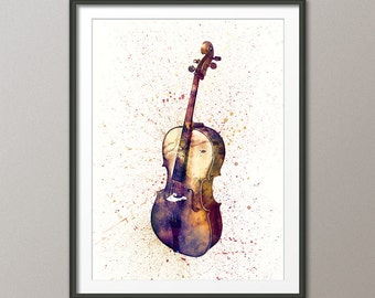 Cello, Abstract Watercolor Music Instrument Art Print (2004)