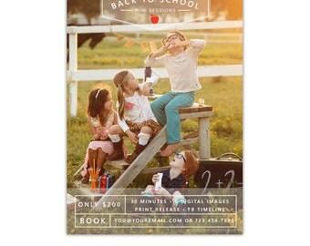 INSTANT DOWNLOAD - Back to School Mini session design - Photoshop template - E1075