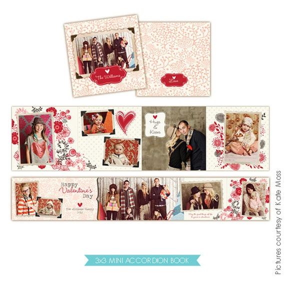 INSTANT DOWNLOAD - Accordion mini template 3x3 - Be lovely - E227