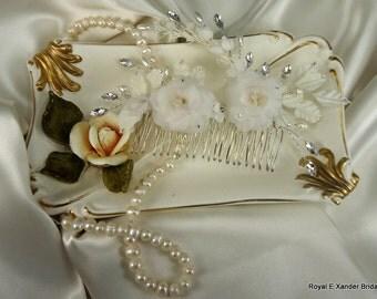 Pure Silk Bridal Headpiece, Bridal Hairpiece, Rose Flower Comb, Bridal Hair Accessory, Wedding Hair Accessory, Silk Flower, REX15-319