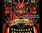 Spirit Board, Lowbrow Punk ,Devil, skulls, Gothic, Skeleton, Bones,evil, occult, pagan, Art Print by Marcus Jones