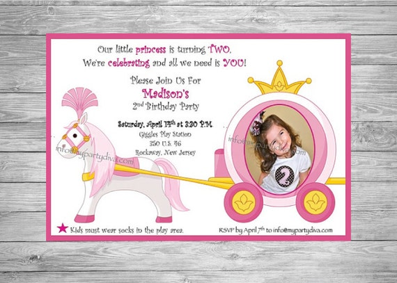 Digital File : Princess Birthday Party Invitation, Horse and Carriage