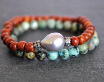 PAVE DIAMONDS SANDALWOOD beaded pearl bracelet