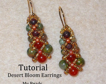 PDF Beading Tutorial, Beaded Earring Tutorial, Seed Bead Tutorial, Beaded Earrings Pattern, Seed Bead Earrings Pattern,How To Bead Earrings