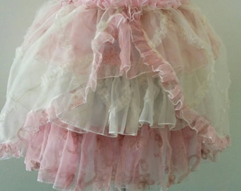 Handmade Lolita 3 Tiered Crystal Organza Skirt with over bustle