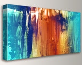 "Abstract Painting, Modern, Wall Art - Large Painting, Canvas Print - Teal and Orange, Wall Decor - ""Synthesis"""