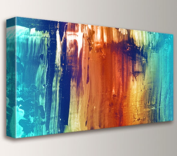 "Abstract Art, Canvas Print, Modern, Wall Art - Abstract Painting- Teal and Orange, Wall Decor - ""Synthesis"""