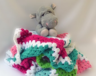 Summer carnival crochet blanket, teen bedding, girls crochet blanket, kids afghan, crochet afghan, girl bedding, colorful crochet blanket