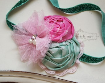 Mint and Pink headband, pink headbands, newborn headbands, flower headbands, vintage headbands, photography prop
