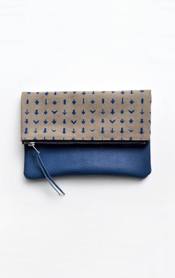 Printed Clutch, Arrow Print Clutch, Blue Leather Clutch, Fold Over Bag, Screen printed Zipper Bag