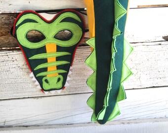 Crocodile Costume - Felt Animal Mask - Wool or Eco Felt - Mask and Tail Costume Gift Set