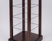"Freestanding Rotating counter top square 4 sided 11""x16"" Solid Black Walnut Wood  Earring Jewelry Display Fixture"