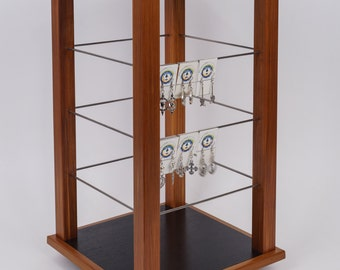 Freestanding Open Rotating counter top square 4 sided Cedar Wood  Earring Jewelry Display Fixture