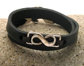 FREE SHIPPING. Mens leather bracelet. Mens bracelet. Men accessories. Black leather bracelet. Silver plated infinity and anchor bracelet.