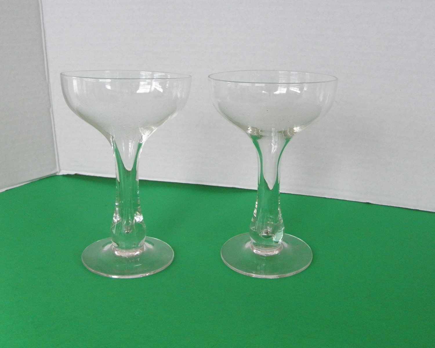 Pair of bulb hollow stem coupe glass champagne glasses art - Hollow stem champagne glasses ...