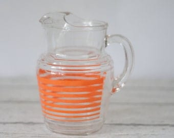 Vntage Anchor Hocking? Juice Pitcher Water PitcherOrange Stripes Clear Glass
