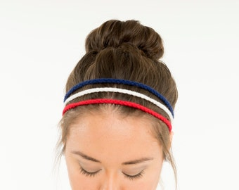 USA Triple Strand Crochet Headband, Red White and Blue Hair Accessory, American Hairband, Stretchy Elastic, Handmade Chain, Summer