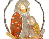 Owl Illustration Painting, Watercolor Art,  Archival Art Print - The Owl Nest by Marisa Redondo