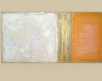"Art , Paintings by Ora Birenbaum, Shabby Chic Modern Acrylic Abstract Painting on Canvas Titled:Orange Dream 24x48x1.5"""