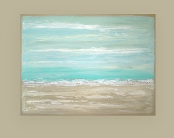 Art Painting Acrylic Abstract Original Art on Canvas by Ora Birenbaum Beach Shabby Chic Titled: Ocean Blue 6 36x48x1.5""