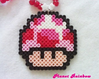 Super Mario Bros Mushroom Kandi Necklace