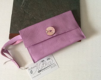 Repurposed Leather Lavender Small Wrist Clutch