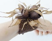 Wooden Beadwork Cuff w/ Silkworm Cocoons & Brown Paper