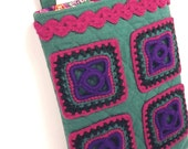 Granny Square Bag, Cross-body Bag, Quilted Linen, Turquoise, Purple, Pink