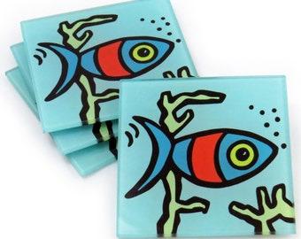 Fish Tempered Glass Coasters