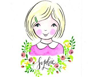 Custom portrait illustration, child, custom portrait, watercolor